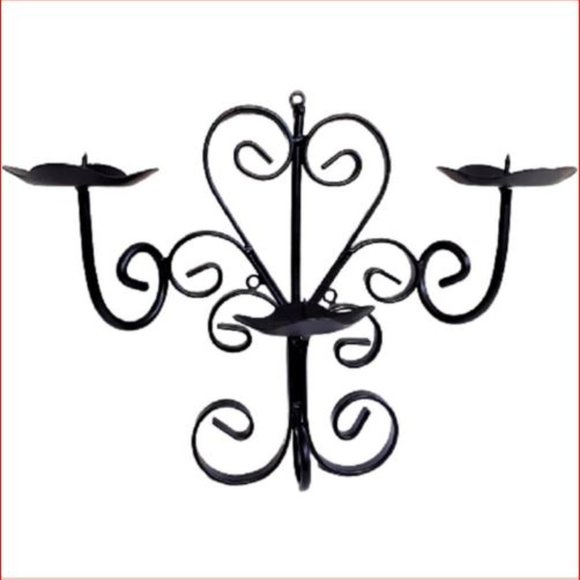 Vintage Black Iron Metal Triple Candle Wall Sconce